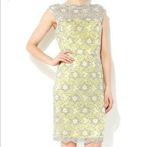 Maggy London Lemon Yellow Gray Lace Sheath Dress 6